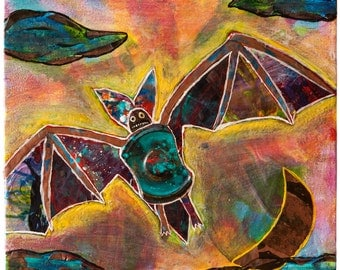 Acrylic Skin Bat - Acrylic Painting - 12 x 12 x 1.5 Inches