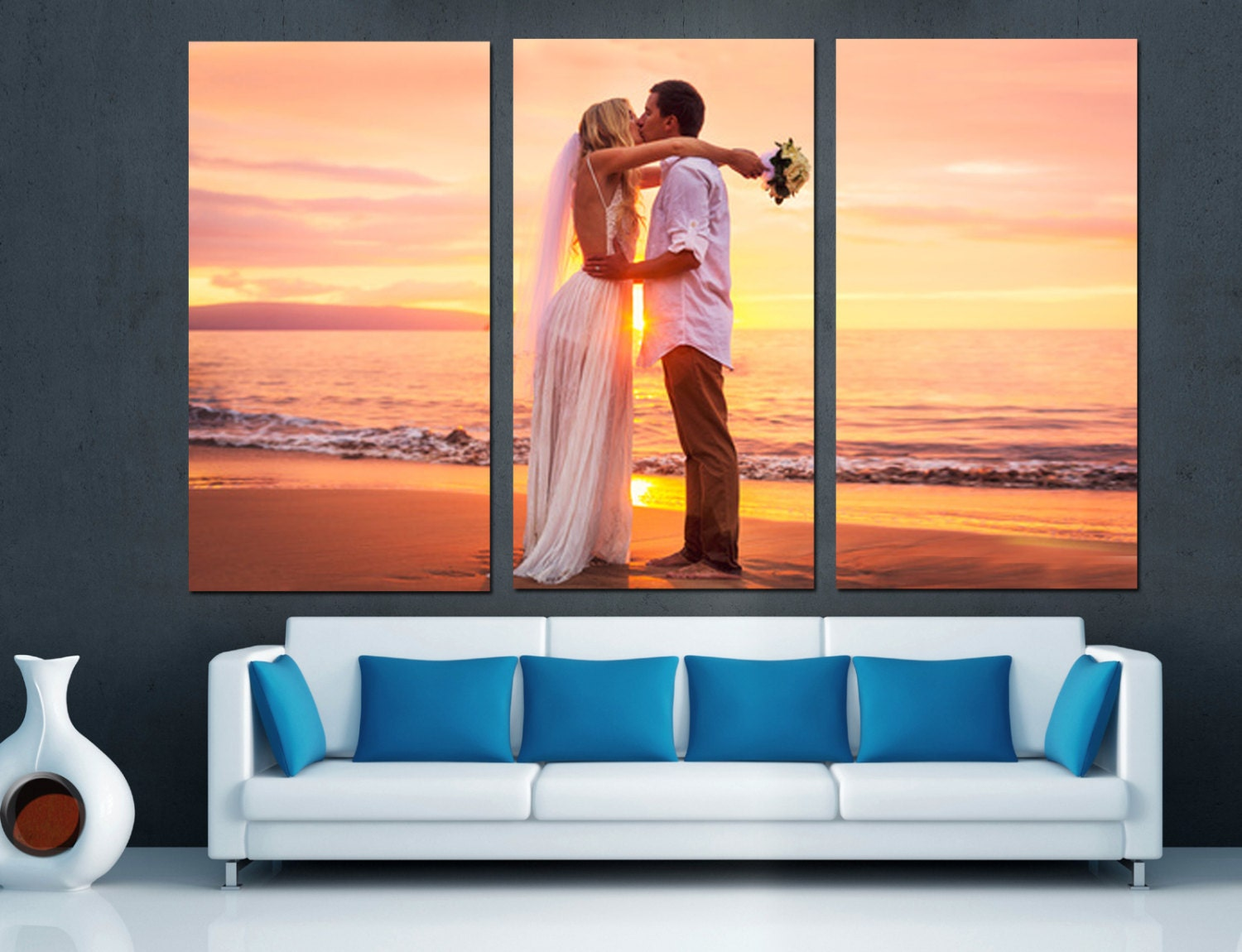 canvas split wedding anniversary gift for couples from photos
