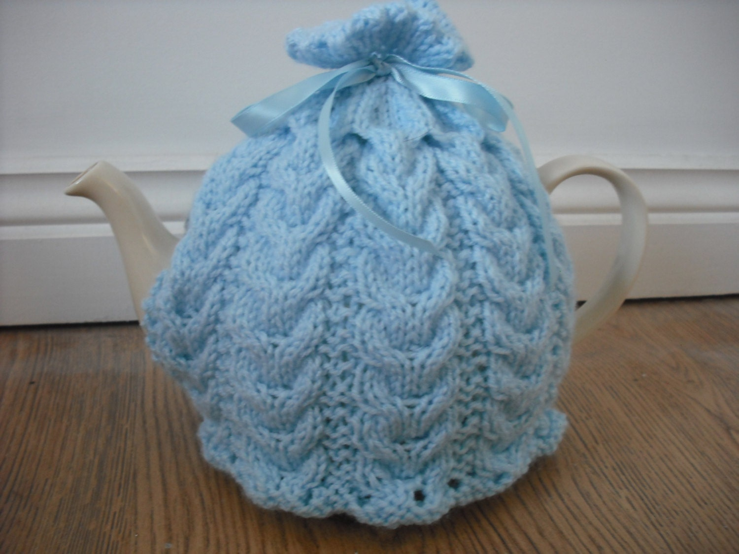Hand Knitted Tea Cosy Patterns : Hand Knitted Tea Cosy in Blue with Cable by QuickSticksKnits
