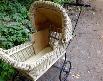 Items Similar To Antique Wicker Baby Doll Carriage Buggy