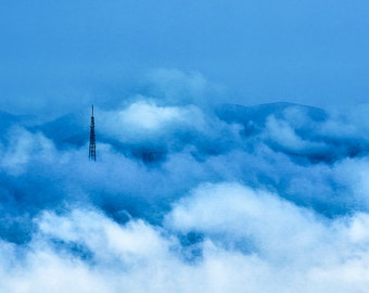 Tower in a Sea of Clouds, print, ready-to-frame, blue, North Carolina, mountains, clouds, tower, landscape, dawn
