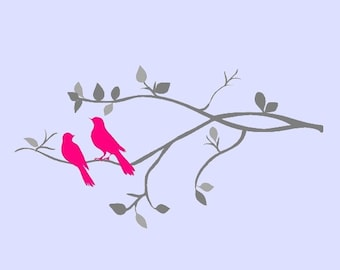 Tree Branch with Beautiful Birds Vinyl Wall Decal.