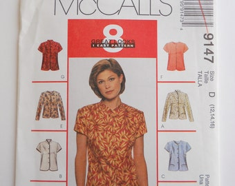 90's McCall's Shirt Pattern / / Misses Size 12-14 and 16  Pattern // 8 Variations