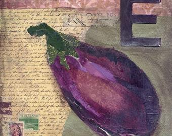 Eggplant Mixed Media - 6x6, 8x8 and 12x12 Print of Original