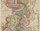 Ancient Courses of the Mississippi River Meander Belt Sheet 10 geological survey map vintage reproduction 1943