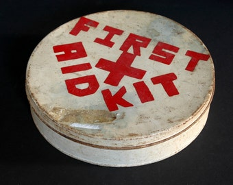 Vintage First Aid Kit Box Round Old Metal White With Red Cross Emergency Kit Distressed Rusty Chippy Medical Medicine Case