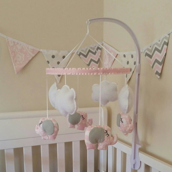 Ansley elephant baby mobile pink and white by graceannbaby for Baby mobile pink and grey