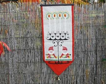 Wall Decor, Burlap Wall Hanging, Vintage Christmas Swedish Vintage Textiles Printed Wall Decor, Gnomes, Candles @82 / 86