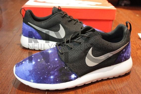 Nike Roshe One Run Black White Galaxy Print V5 by NYCustoms
