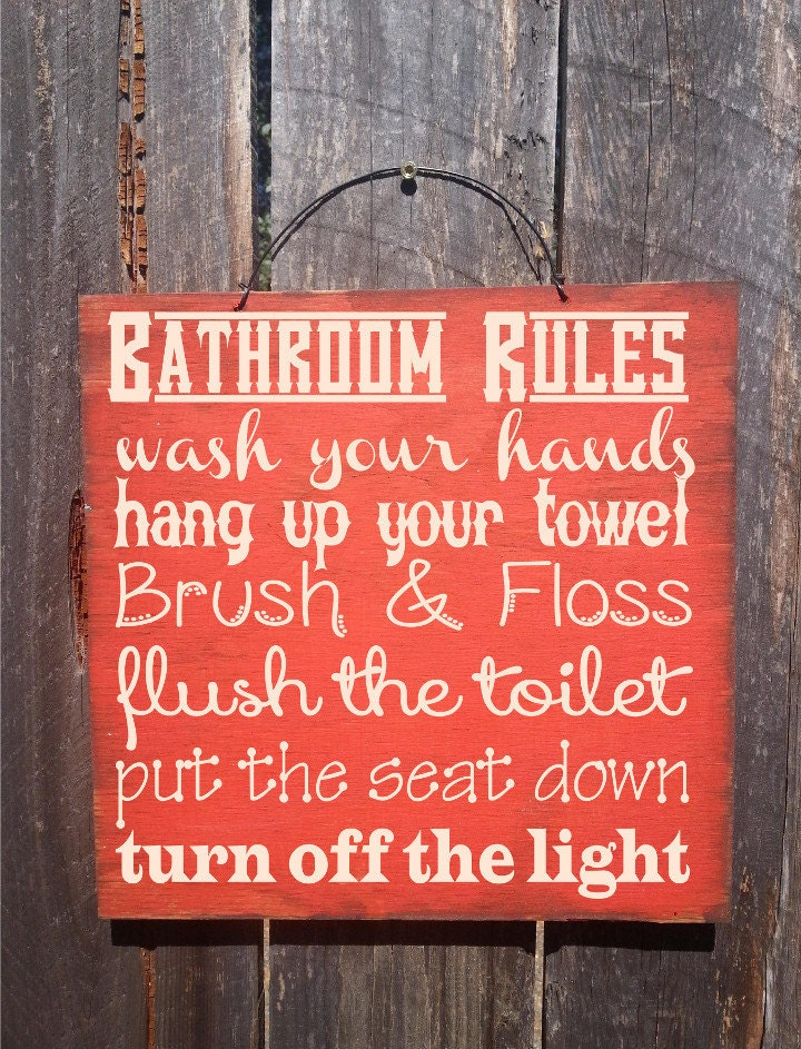 Bathroom rules sign bathroom decor bathroom sign bathroom for Bathroom decor rules