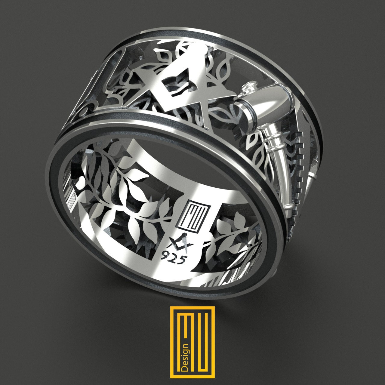 masonic wedding band style ring 925k sterling silver or With masonic wedding rings