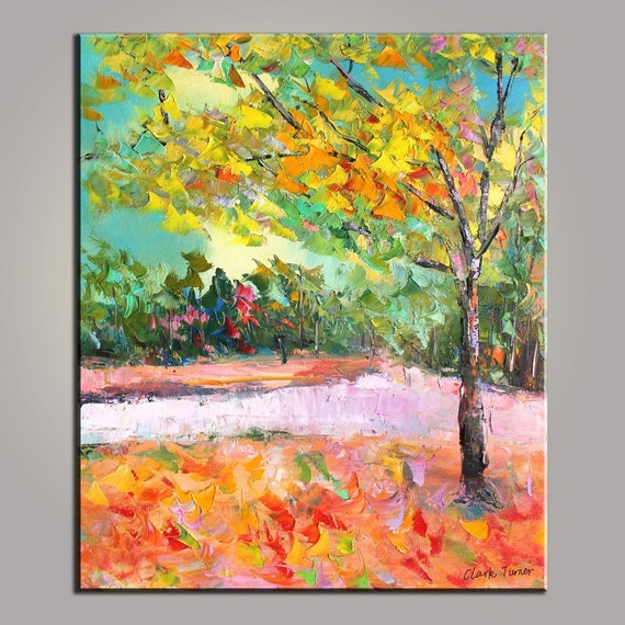 Astratto dipinto piccolo paesaggio dipinto originale legno