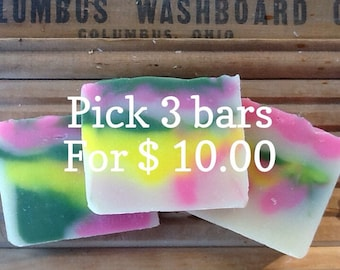 3 Bars of Homemade Lye soap You choose scents
