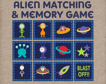 Space Alien Matching & Memory Game. Great game for toddlers and preschoolers. Instant Digital Download.
