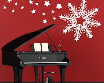 HUGE SNOWFLAKE & STARS - Christmas decorations - Holiday interior decor by GraphicsMesh