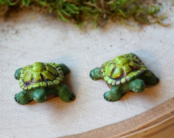Miniature Turtles Fairy Garden Doll House Green Turtle