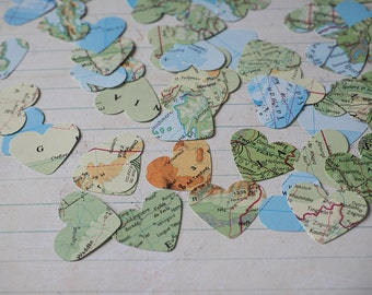 World map paper hearts wedding confetti shapes table decoration pack of 200