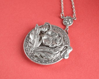 Poppy Locket, Poppy Necklace, Vintage Locket Necklace, Secret Locket, Antique Locket, Silver Locket, Flower Locket, Poppy, Holiday Gifts