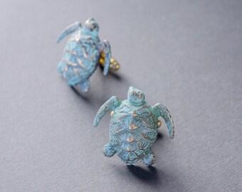 Sea Turtle Cufflinks Men's Cufflinks Turtle Cufflinks Steampunk Cufflinks Antique Brass Verdigris Turtle Vintage Style Statement Cufflinks