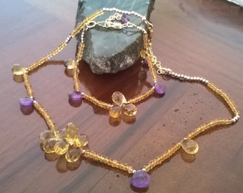 Necklace citrine amethyst, citrine and quartz necklace Amethyst