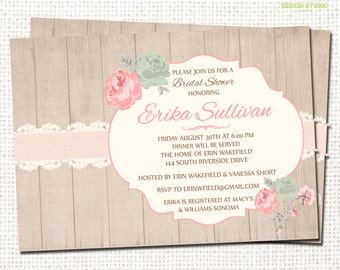Shabby Chic Bridal Shower Invitation - Printable