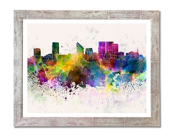 The Hague skyline in watercolor background - SKU 0595