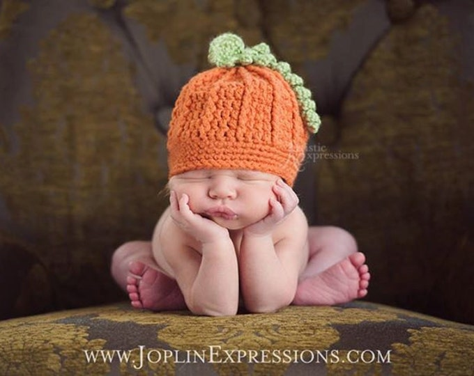 Crocheted Pumpkin Hat, Halloween beanie, Pumpkin beanie