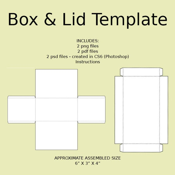 Digital Rectangle Box & Lid Templates Download PNG PSD