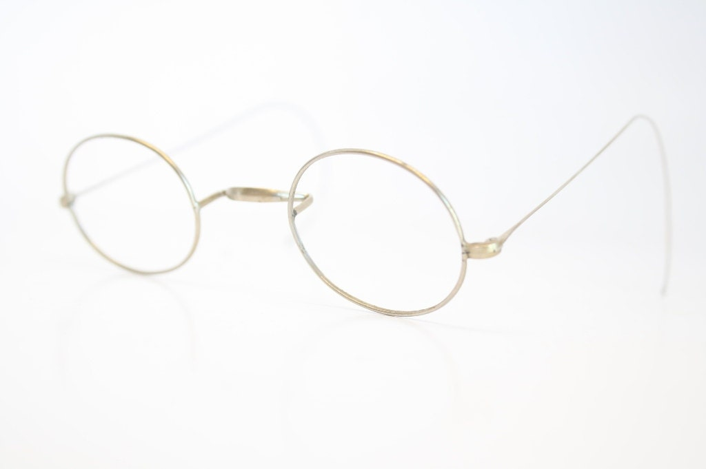 Vintage Silver Eyeglass Frames : Saddle Bridge Eyeglasses Antique Silver Glasses Frames Oval