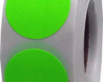 500 Neon Fluorescent Green Dot Stickers - 0.75 Inch Round Adhesive Labels