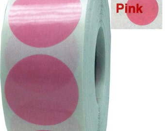 500 Translucent Pink Envelope Seal Dot Stickers - 0.75 Inch Round See Through Adhesive Labels