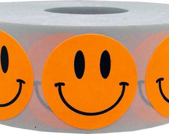1,000 Fluorescent Neon Orange Smiley Face Stickers - 1 Inch Round