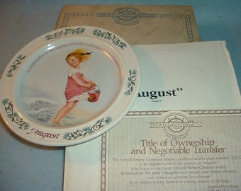 1984 Newell Pottery August by Sarah Stilwell Weber Calendar Collection Plate w Box & COA