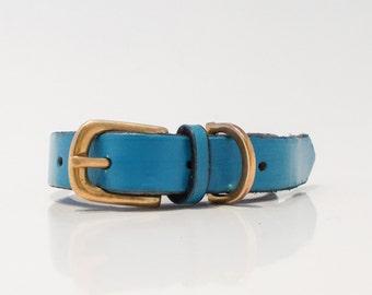 Handmade English bridle leather collar - Blue