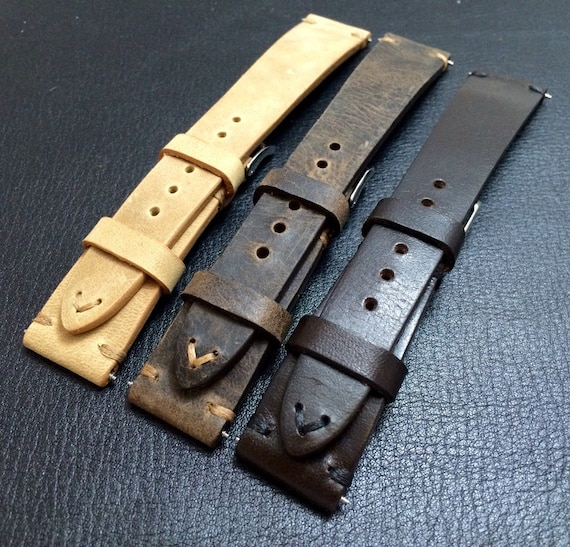 Combo Set handmade Leather Watch Strap | Vintage leather watch band | Handmade Brown leather set watch bands for Rolex, IWC - 20mm/16mm