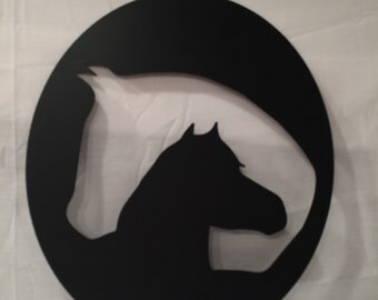 Horse and Mare metal art sign