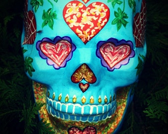 FREE SHIPPING Sugar Skull  Day of the Dead HandMade Sugar Skulls Ceramic Skull Mexican Skull Decoration Love Gift
