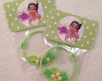8 - Tiana Princess and the Frog Birthday or Slumber Party Favor 6 inch DIY Bracelet Kits - Set of 8