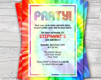 Tie Dye - Retro 1960's - Editable PDF Party Invitation - Kids & Adult Birthday - Anniversary - Special Occasion - Digital - DIY Printable