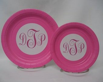 "Monogram Customized/Personalized 9"" or 7"" Paper Plates for Wedding/Baptism/Engagement/Anniversary/Birthday Party/Bridal Shower"