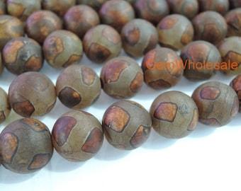 "14.5"" Brown Bulk tibetan Dzi beads 8mm/10mm/12mm round beads, Brown Dzi agate with stripe, antique semi-precious stone"