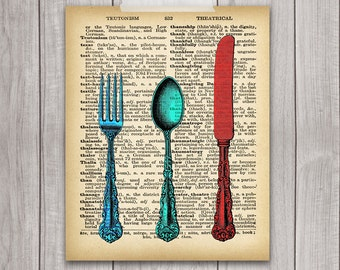 75% OFF SALE - Fork Knife Spoon Art  - 8x10 Printable Kitchen Art, Kitchen Decor, Dictionary Art Print, Cutlery Art, Dictionary Print