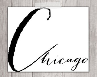 75% OFF SALE - Chicago Art - 8x10 Art Print, I Heart Chicago, Printable Home Decor, Printable Art, Chicago Wall Art, Chicago Wall Decor