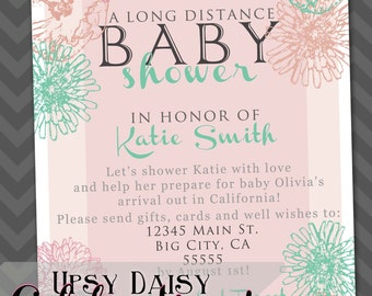 customized long distance baby shower invitation design you print