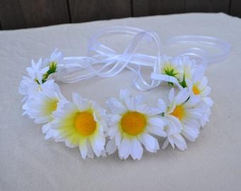 Flower Headband - Daisy Headband - White Daisies - Hippie Headband - Music Festivals - EDC - Bridal - Wedding - Flower Girl