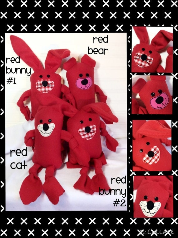 Red Fleece Stuffed Lovies!!  Bunny #1 SOLD!