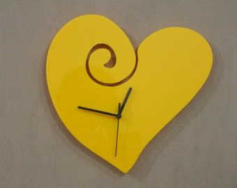 Yellow Heart Cartoon Silhouette - Wall Clock