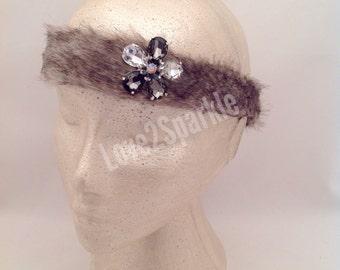 Faux fur HEADBAND, fur hairband, furry headband, diamante fur headband, brown fur headband, winter hairband