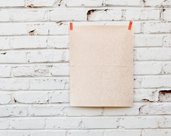 Pistachios in Peach : Hand-printed Fabric Panel