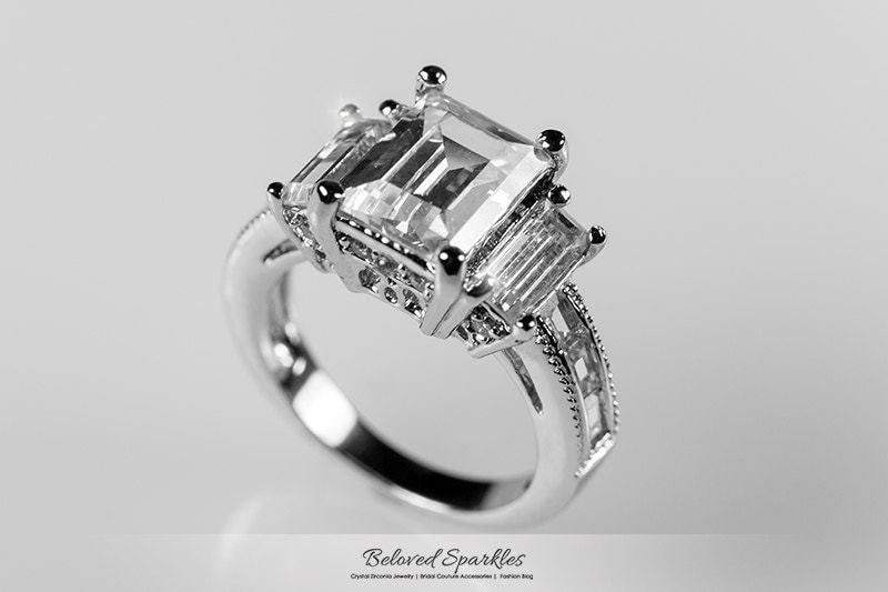 3 Carat Emerald Cut CZ Engagement Ring 5 Carat by BelovedSparkles